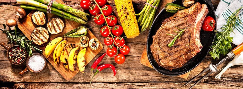 Various healthy food on a wooden table