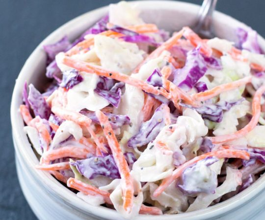 This super healthy creamy coleslaw is made with greek yogurt instead of mayo! It is delicious, soul satisfying and so much healthier and tastier than standard coleslaw.