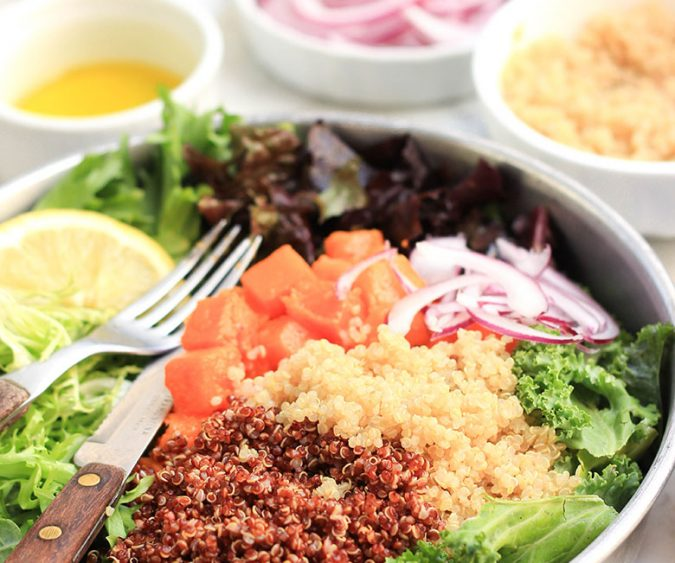 This colorful salad is wholesome, filling and packed with nutrient-dense foods! Love it.