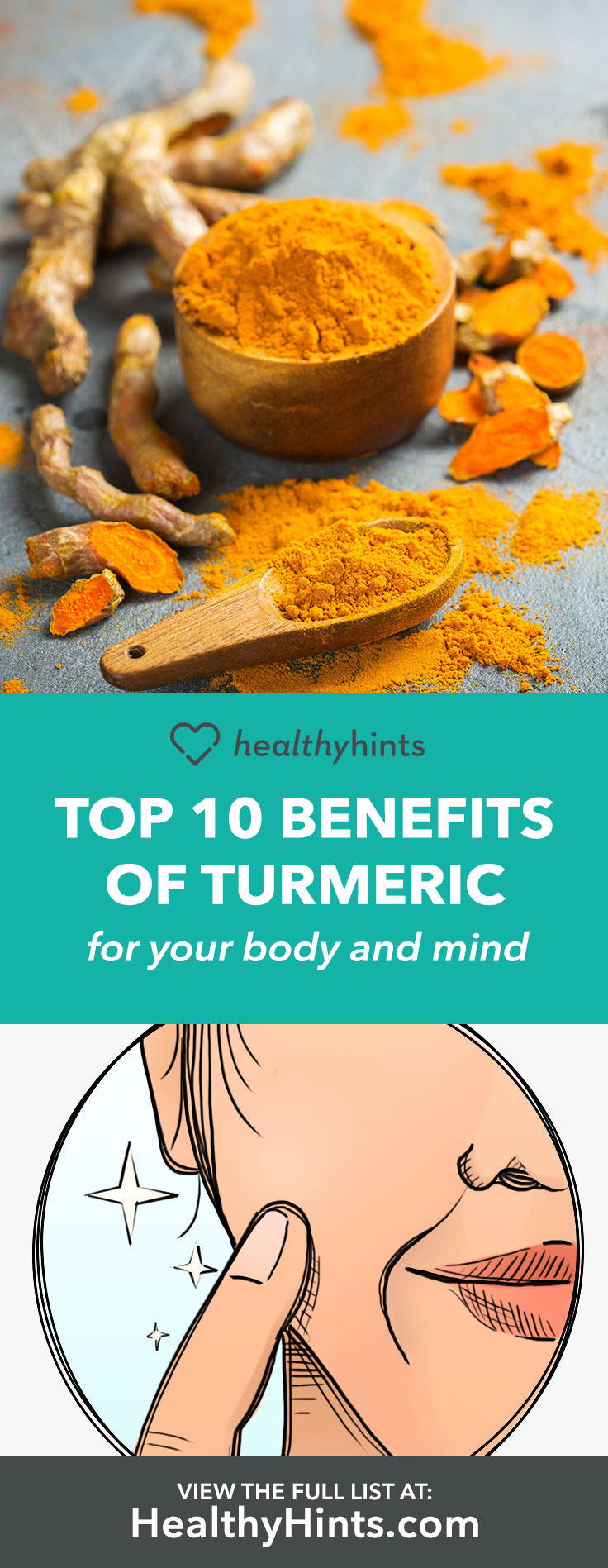 10 benefits of turmeric for a healthy body and mind.